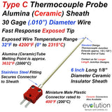 "Type C Thermocouple Exposed Junction 30 Gage Wire with Ceramic Alumina 1/8"" Diameter Sheath 6 Inches Long with Plastic Miniature Connector"