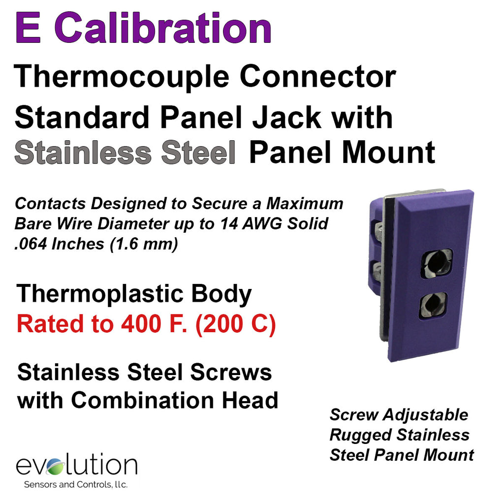 Thermocouple Panel Jacks, Standard Panel Insert Flanged, Type E