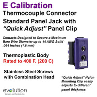 Thermocouple Panel Jacks, Standard Panel Jack, Type E
