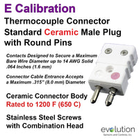 Standard Thermocouple Connectors, Standard Ceramic Male Hollow Pins, Type E