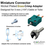 Miniature Thermocouple Connector Accessories, Miniature Crimp Adapter, Type