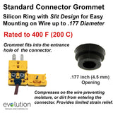 Thermocouple Connector Accessories Standard Grommet up to .177 Inch Di