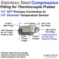 Stainless Steel Compression Fitting 1/2 NPT to 1/4 Inch Thermocouple
