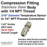 1/4 NPT Stainless Steel Compression Fitting for 3/16