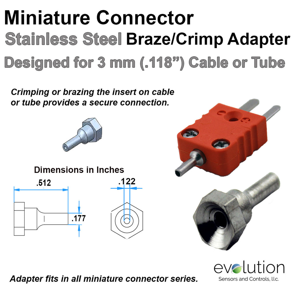 Miniature Thermocouple Connector Accessories, Miniature Braze Crimp Adapter, Type