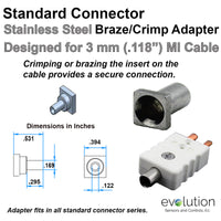 Standard Thermocouple Connector Accessories, Standard Braze Crimp Adapter, Type