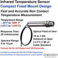Infrared Temperature Sensor and Transmitter - Compact Fixed Mount Design