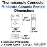 Miniature Female Ceramic Thermocouple Connector Dimensions Type J