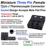 Miniature Thermocouple Connectors, Miniature Three Pin Female, Type J