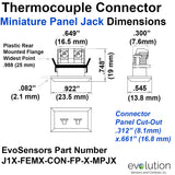 Type J Miniature Panel Jack Thermocouple Connector dimensions