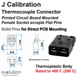 PCB Thermocouple Connectors, Miniature PCB Flat Mounting, Type J