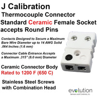 Standard Thermocouple Connectors, Standard Ceramic Female, Type J