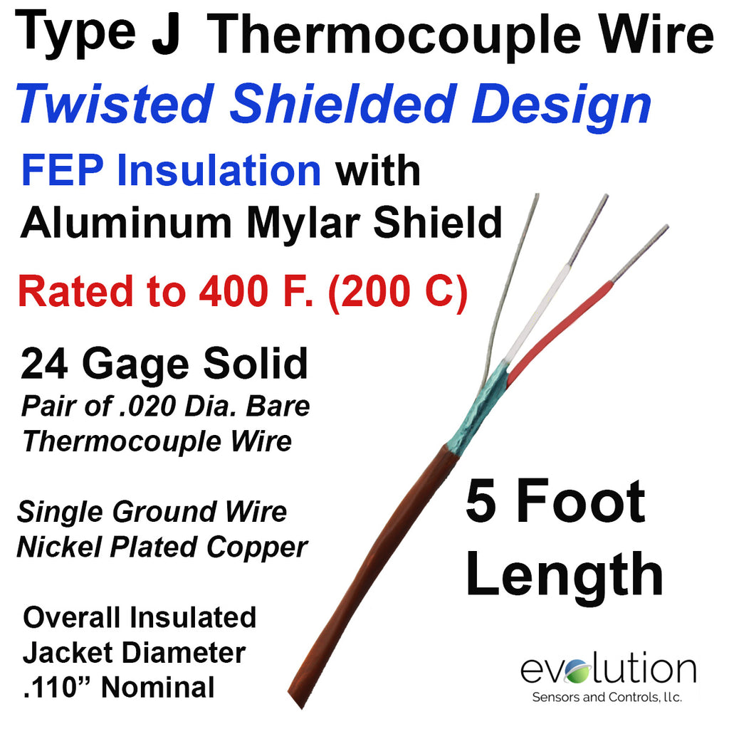 Type J Thermocouple Wire Twisted Shielded 24 Gage Solid FEP Insulated 5 Ft Long