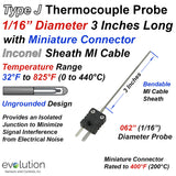 Type J Thermocouple Probe with Miniature Male and Female Connector - 1/16 Inch Diameter 3 Inch Long Inconel Sheath Ungrounded