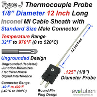 Type J Thermocouple Probe Inconel Sheath Ungrounded 1/8