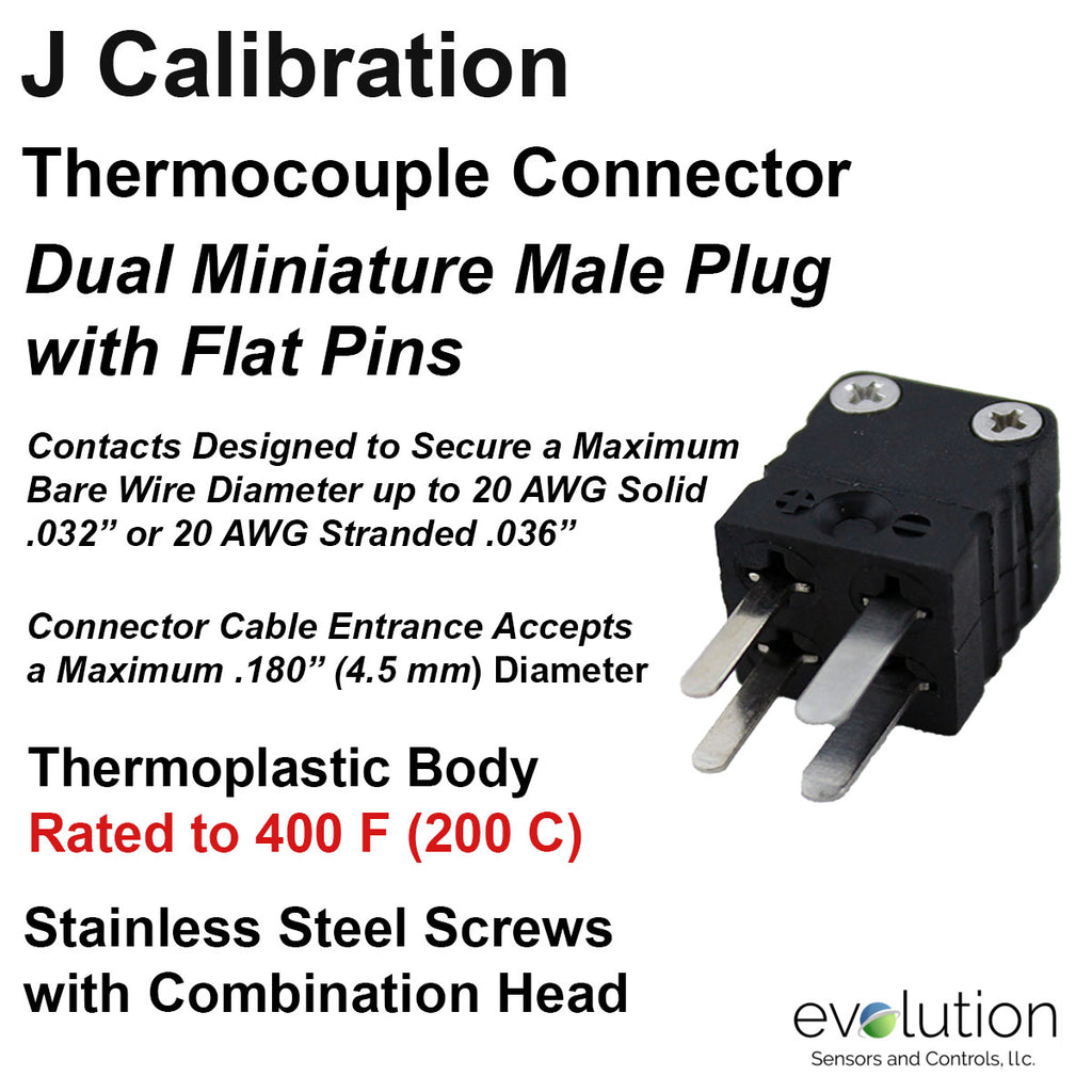 Miniature Thermocouple Connectors, Miniature Duplex Male, Type J