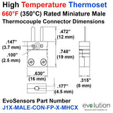 Type J High Temperature Thermoset Miniature Male Thermocouple Connector Dimensions