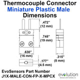 Miniature Thermocouple Connectors, Miniature Male, Type J Dimensions