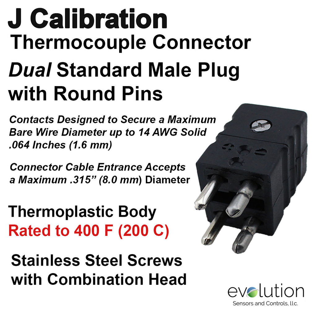 J Type Dual Standard Size Male Thermocouple Connector