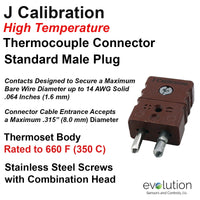 Type J Thermoset Thermocouple Connector Standard Size Male