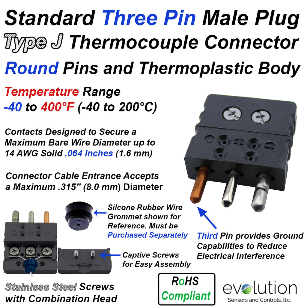 Standard Thermocouple Connectors, Standard Three Pin Male, Type J