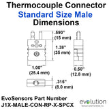 Thermocouple Connector Standard Size Male Dimensions Type J