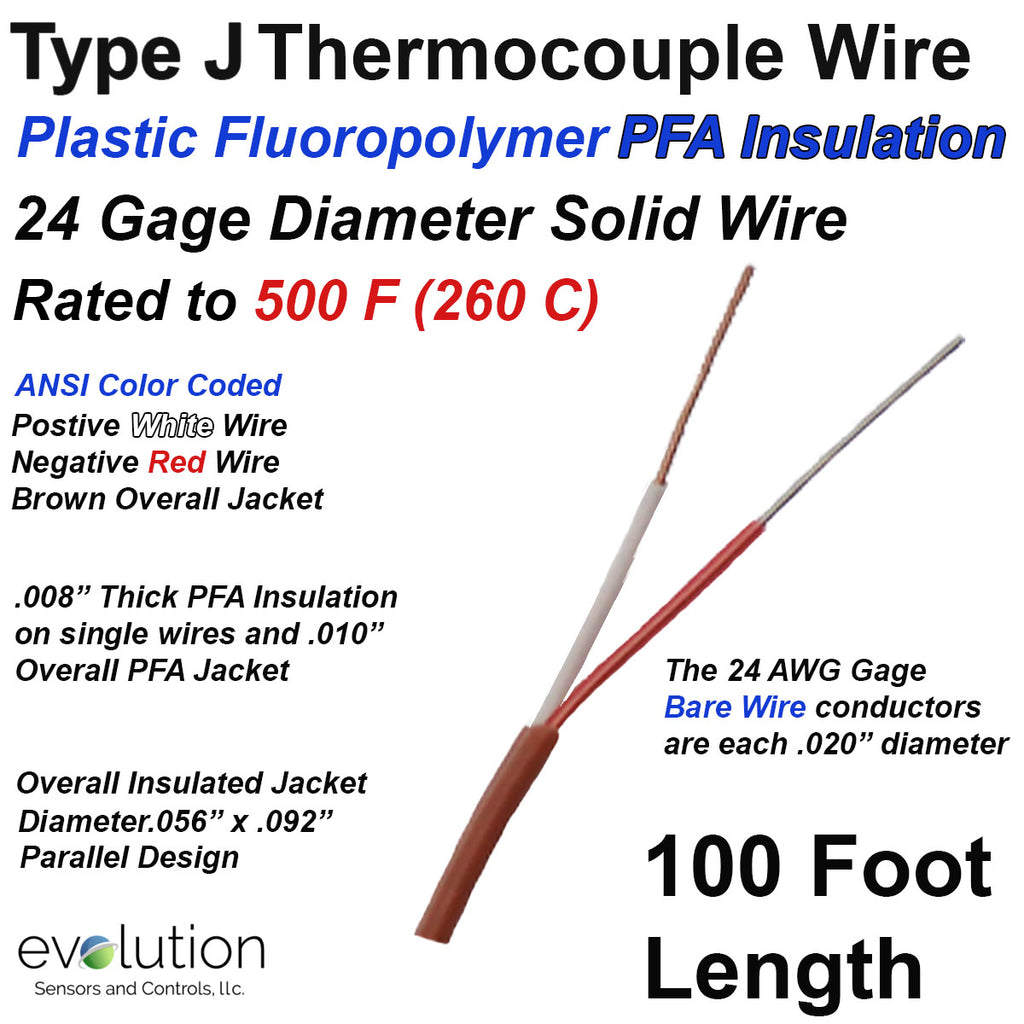 J Type Thermocouple Wire 24 Gage PFA Insulated 100 ft Long