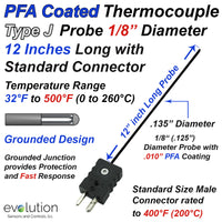 PFA Coated Thermocouple Sensor and Probe Type J Grounded 12 inches long 1/8 inch diameter Stainless Steel Sheath and Standard Connector