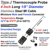 Type J Thermocouple Probe 1/8