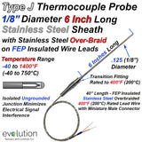 Type J Thermocouple Transition Probe Overbraided Wire with Stripped Ends