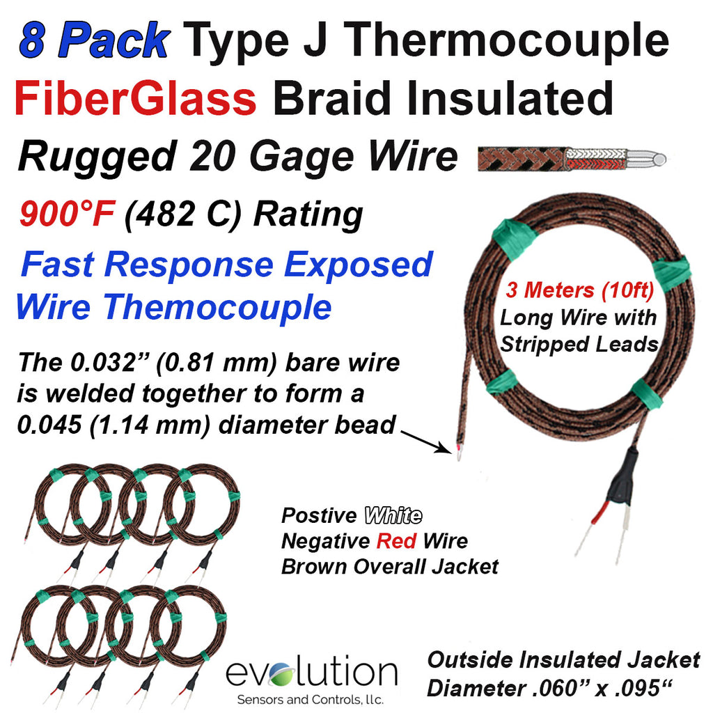 J Type Glass Braid Insulated Thermocouple 20 Gage Wire Lead 8 Pack