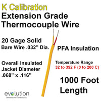 Thermocouple Wire Type K Extension Grade 20 Gage PFA Insulated 1000 ft Long
