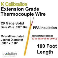 Thermocouple Wire Type K Extension Grade 20 Gage PFA Insulated 100 ft Long