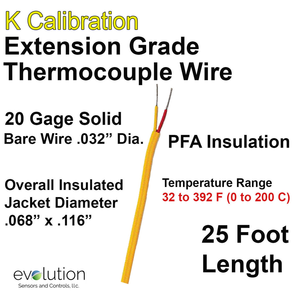 Thermocouple Wire Type K Extension Grade 20 Gage PFA Insulated 25 ft Long