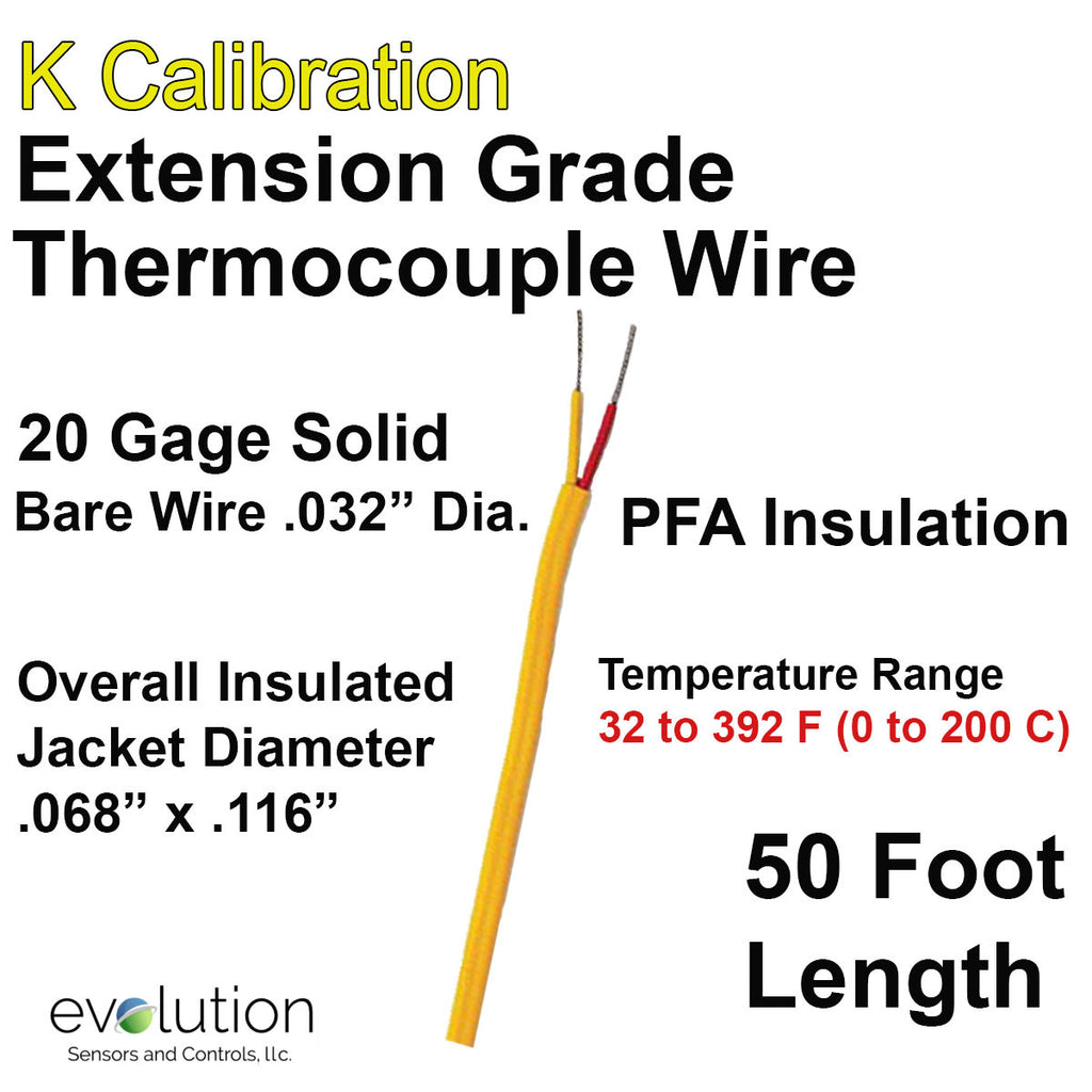 Thermocouple Wire Type K Extension Grade 20 Gage PFA Insulated 50 ft Long