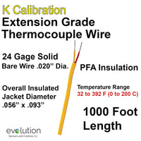 Thermocouple Wire Type K Extension Grade 24 Gage PFA Insulated 1000 ft Long