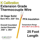 Thermocouple Wire Type K Extension Grade 24 Gage PFA Insulated 25 ft Long