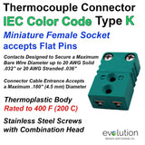 Type K IEC Color Code Miniature Female Thermocouple Connector