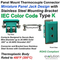Type K IEC Colored Miniature Panel Mount Thermocouple Connector