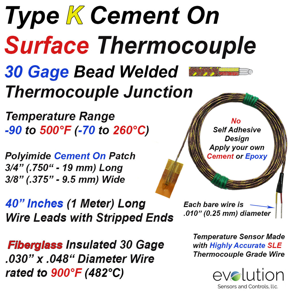 Type K Cement On Surface Thermocouple with 40 inch Wire Leads