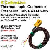 Thermocouple Connector Extension Cable - 45 ft. Long Cable with mini female and stripped wire leads