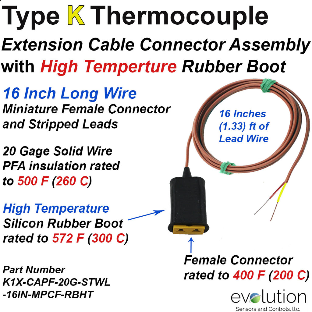 Type K Thermocouple Extension Cable Rubber Boot and Miniature Connector