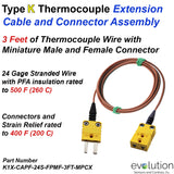 Type K Thermocouple Extension Cable with miniature connectors attached