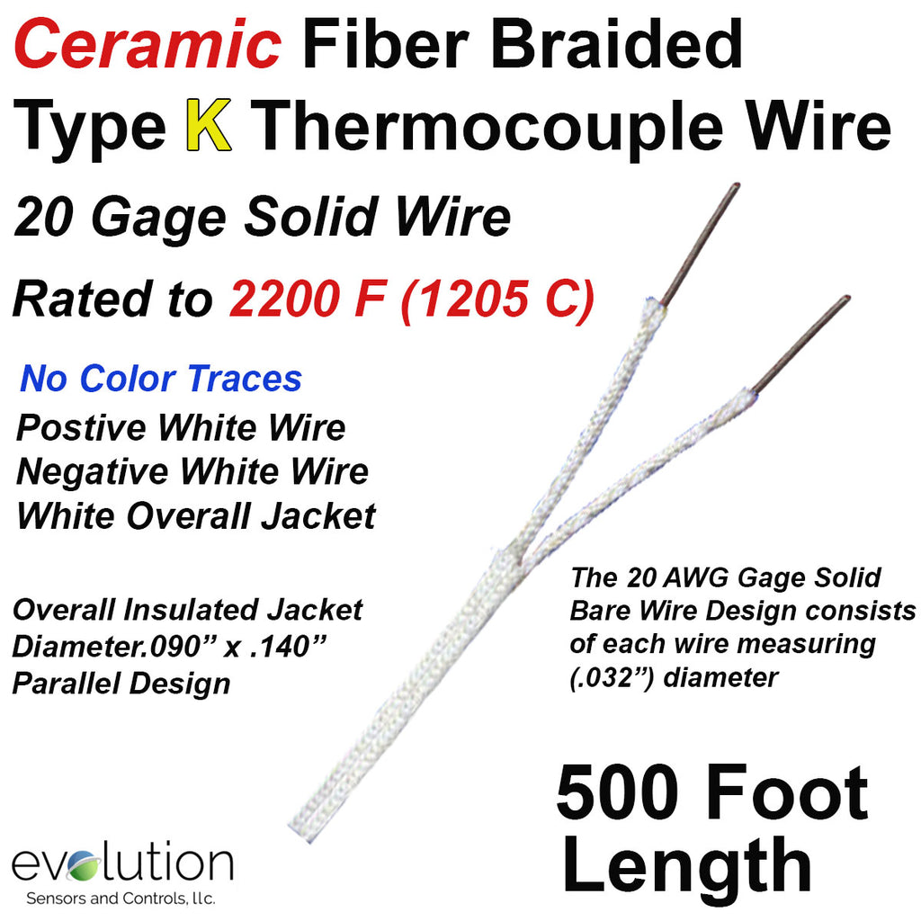 HIgh Temperature Ceramic Fiber Insulated Thermocouple Wire Type K 20 Gage Solid Wire 500 ft Long