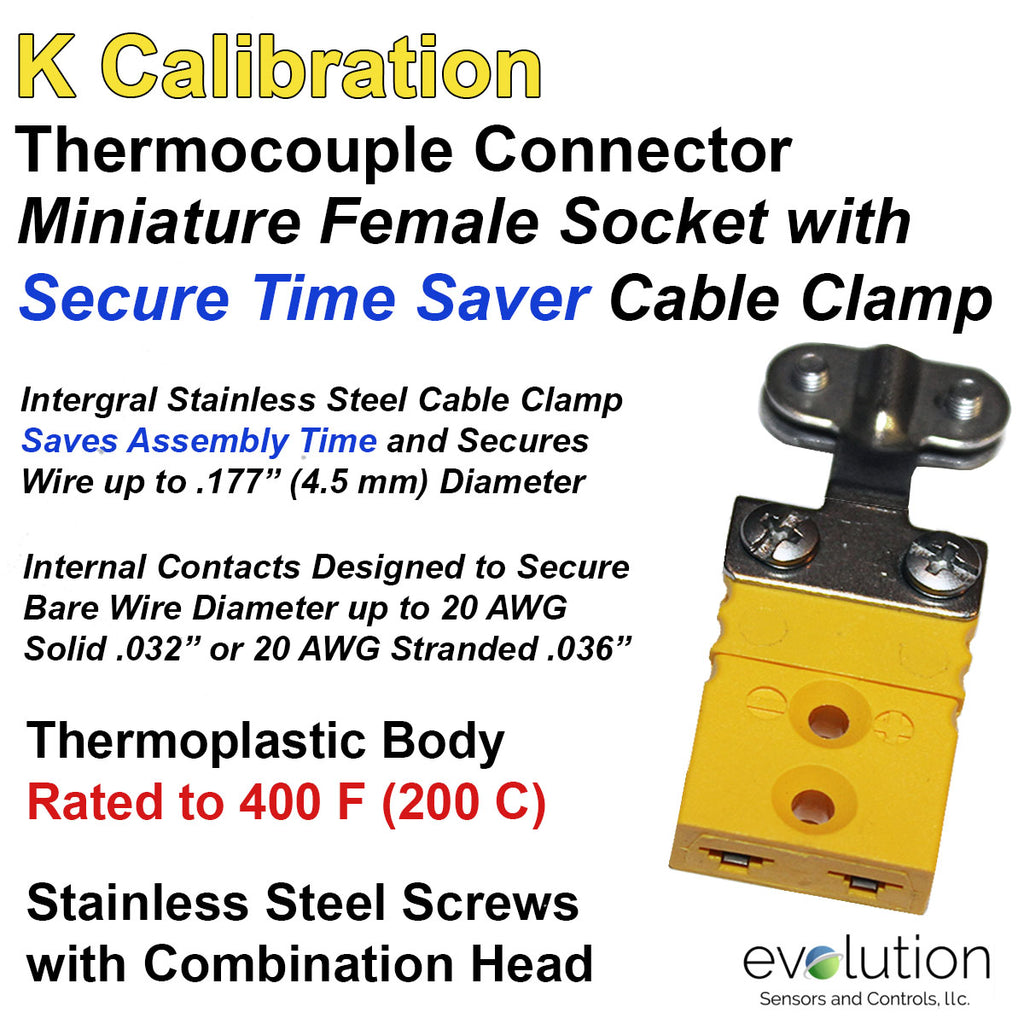 Thermocouple Connector Miniature Female Type K with Integral Cable Clamp
