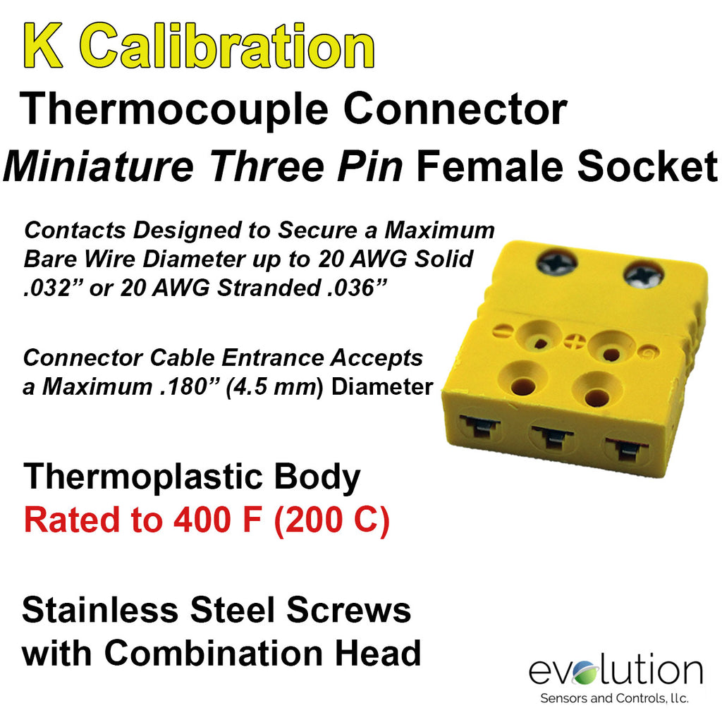Miniature Thermocouple Connectors, Miniature Three Pin Female, Type K