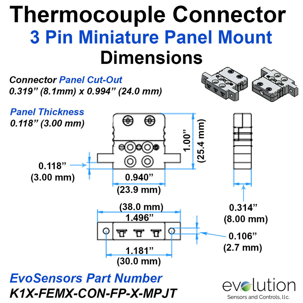 Type K Miniature Panel Mount Thermocouple Connector 3 Pin Design Dimensions