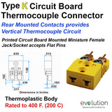 Type K Miniature Circuit Board Thermocouple Connector Rear Mount Design