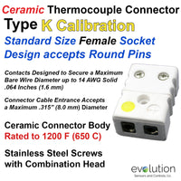 Ceramic Thermocouple Connector Type K Standard Size Female