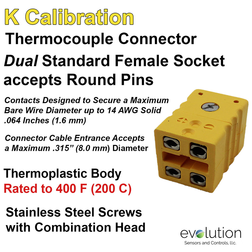 Type K Dual Thermocouple Connector Standard Size Female